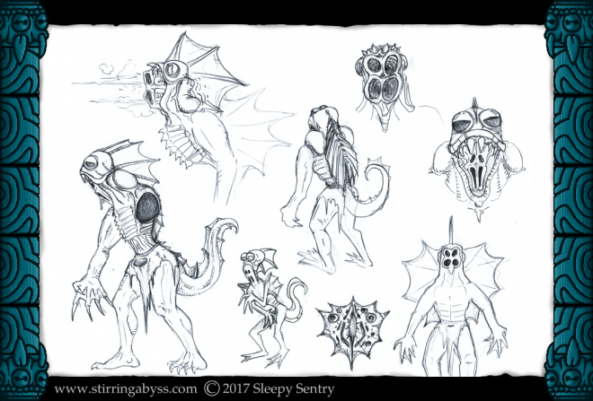 The original concept sheet for the Spineskulker